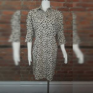 Chicos Dress Leopard Animal Print Shirtdress